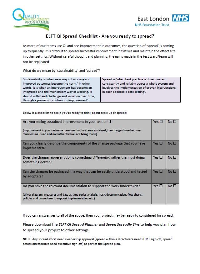 ELFT QI Spread Checklist
