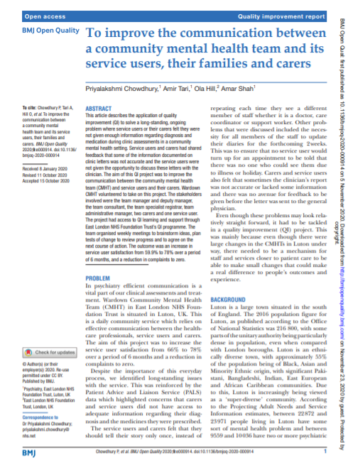 To improve the communication between a community mental health team and its service users, their families and carers