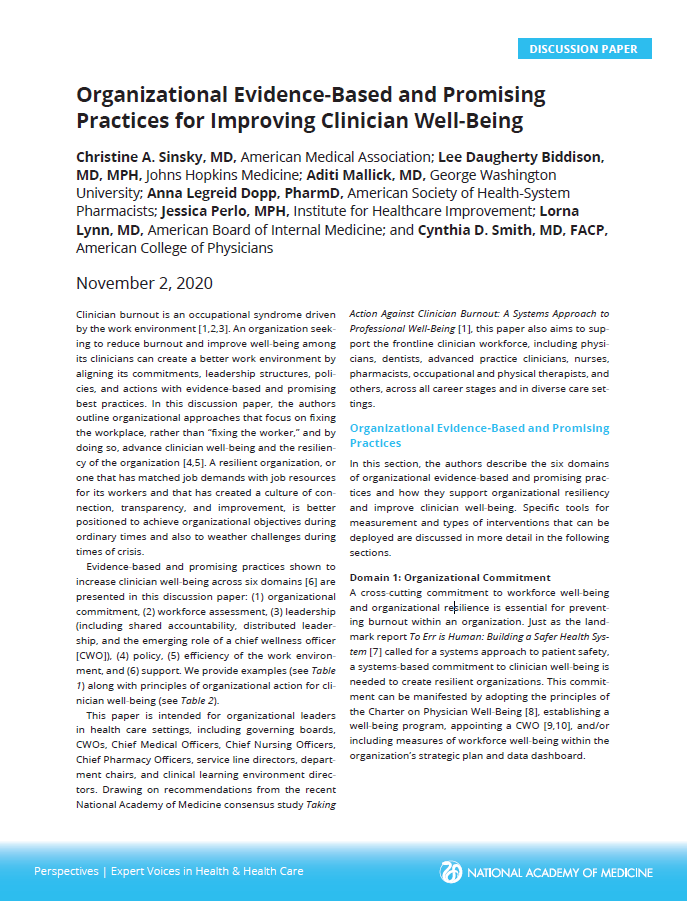 Organisational Evidence-Based and Promising Practices for Improving Clinician Well-Being