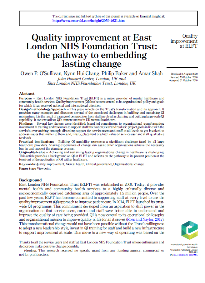 Quality improvement at East London NHS Foundation Trust: the pathway to embedding lasting change