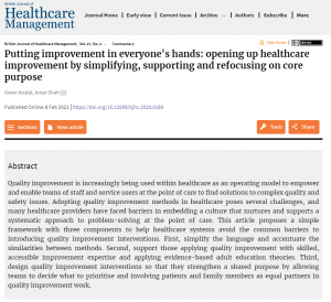 Putting improvement in everyone's hands: opening up healthcare improvement by simplifying, supporting and refocusing on core purpose