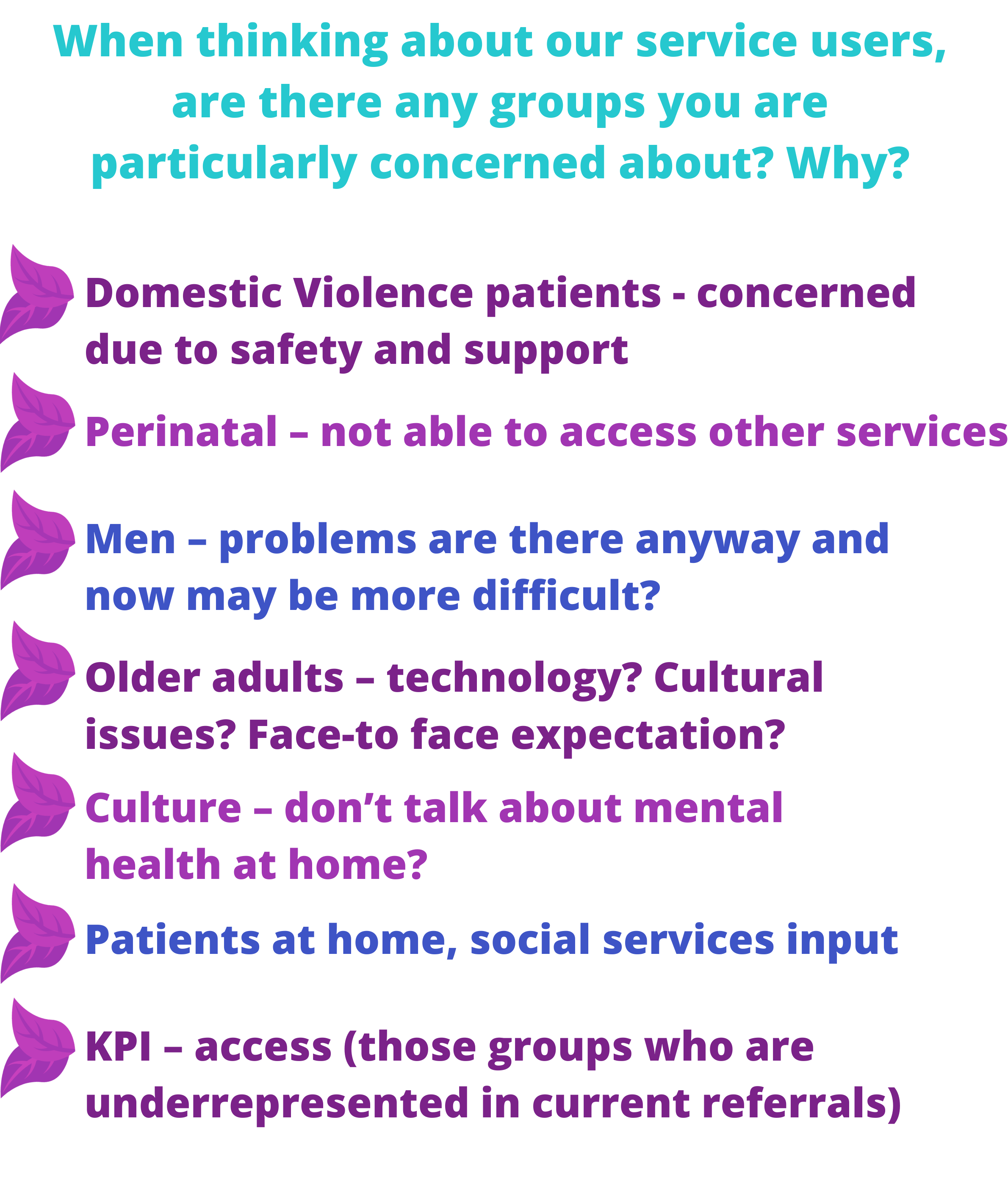 When thinking about our service users are there any you are concerned about?
